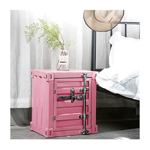 XIAOQIU Nightstand Wrought Iron Bedside Table Container Industrial Wind Nightstand With Lock Storage Cabinet Creative Bedside Cabinet Bedside Cabinet (Color : Pink)