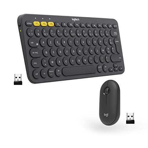 Logitech Ensemble sans fil clavier K380 + souris M350 - Design compact et portable, clics silencieux, autonomie longue durée, Bluetooth, Easy-Switch. Compatible Mac, Chrome OS, Windows, Graphite