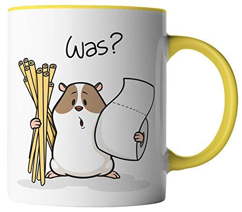 vanVerden Tasse - Hamsterkäufe Klopapier und Nudeln Corona-Virus 2020 COVID-19 - beidseitig Bedruckt - Geschenk Idee Kaffeetassen mit Spruch, Tassenfarbe:Weiß/Gelb