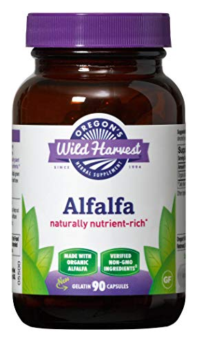 Oregon's Wild Harvest Non-GMO Alfalfa Capsules Organic Herbal Supplements, 90 Count