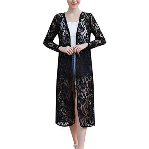 Damen Tägliche Strickjacke Lang Spitze Herbst Schöne Dünn Cardigan Oversize-Blouson Passender Kleid Wasserfall Sonnenhemd Bluse Sunproof Langarm Outwear URIBAKY