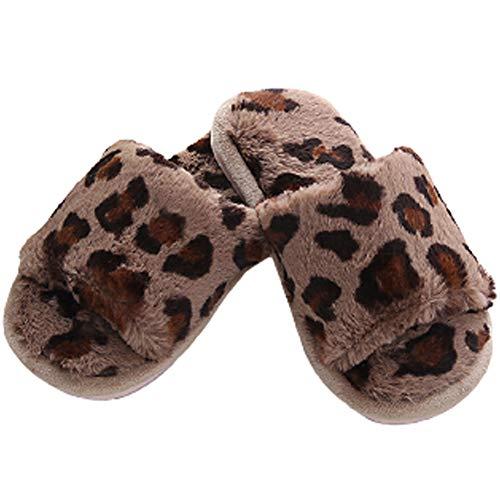 KRILY Zapatillas Casa Mujer Zapatillas de Casa Invierno Mujer Peludo Sandalias Pelusa parecida a un Leopardo con Punta Abierta Invierno Antideslizantes Cálido Mullido Pantuflas Flip Flop,Marrón,37