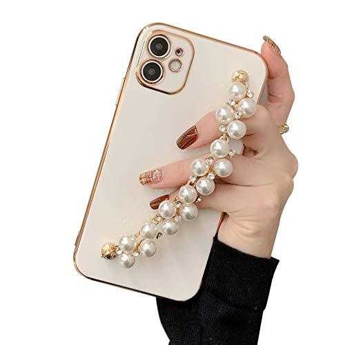AQUYY Funda Antigolpe Compatible con iPhone 12 Pro, Carcasa Protectora Suave de TPU con Cadena de Muñeca de Perlas para iPhone 12 Pro, Elegante Funda Anti-Arañazos Anticaída para Mujeres Niñas, White