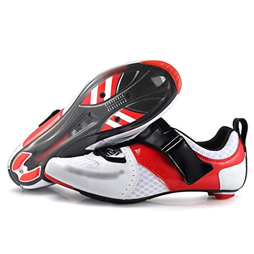 Road Bike Cycling Shoe Outdoor Sports Bicycle Lock Shoes Carbon Fiber Bike Shoes Breathable Non-Slip Outdoor Sport Shoe for Hiking Travel (Color : White, Size : UK-7.5/EU41/US-8)