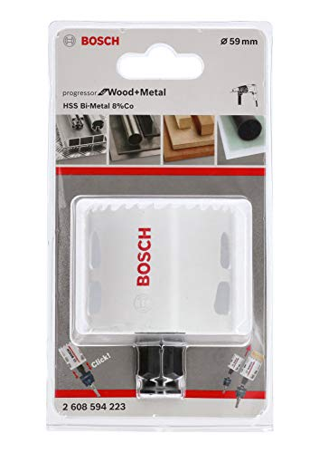 Bosch Professional 2608594223 Lochsäge Progressor für Wood & Metal (Holz und Metall, Ø 59 mm, Zubehör Bohrmaschine)