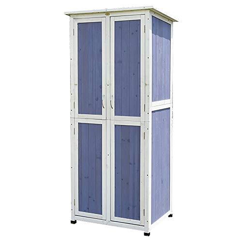41bqpqVGYdL - Außen Locker Balkon Hof Garten Massivholz-Lagerschrank wasserdichte Sonnenschutz Ideale Aufbewahrungsbox für den Außenbereich (Farbe : Blau, Size : 77x58x175cm)