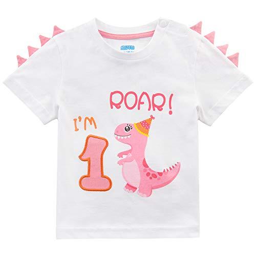 AMZTM Camiseta 1er Cumpleaños Bebé Niña Dinosaurio Cumpleaño Fiesta Manga Corta Tops Ropa 1 Año 100% Algodón Blanca Dino Impreso tee(Blanca, 1 Año - 80)