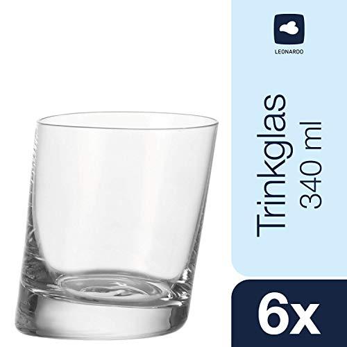Leonardo Pisa Trink-Glas, Trink-Becher im verspielten Stil, spülmaschinengeeignete Tumbler-Gläser, 6er Set, 340 ml, 063037