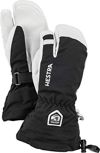 Hestra Army Leather Heli Ski Junior - Classic 3-Finger Leather Snow Glove for Skiing and Mountaineering for Kids and Youth - Black - 4