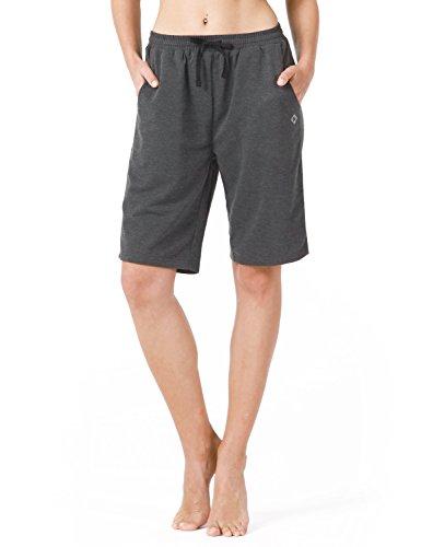 Naviskin Damen Bermuda Shorts Workout Athletic Yoga Shorts mit Taschen Knielang für Fitness Walking Gym Hausarbeit, Damen, grau, Large