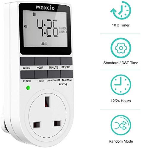 JXH Digital-Timer-Stecker, Programmierbarer Timer-Stecker mit Zufallsmodus und On-Off-Programme, Wand Home Switch,Uk