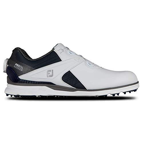 FootJoy Men's Pro|SL Carbon Boa Golf Shoe, White/Navy, 10.5