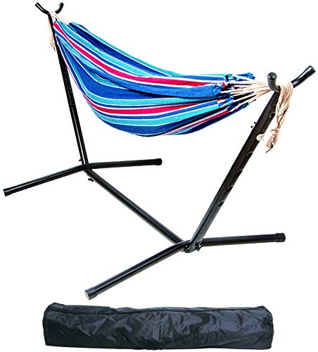 BalanceFrom Double Hammock with Space Saving Steel Stand and Portable Carrying Case, 450-Pound Capacity