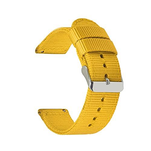 Banda de Nylon Durable Correa 18mm 20mm 22mm 24mm Reloj Pulsera, Amarillo, 20mm