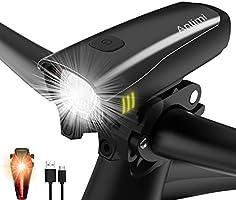 Antimi Fahrradlicht Set Wiederaufladbare, LED Fahrradlichter Fahrradlampe Set Vorne Fahrradbeleuchtung Wasserdicht mit...