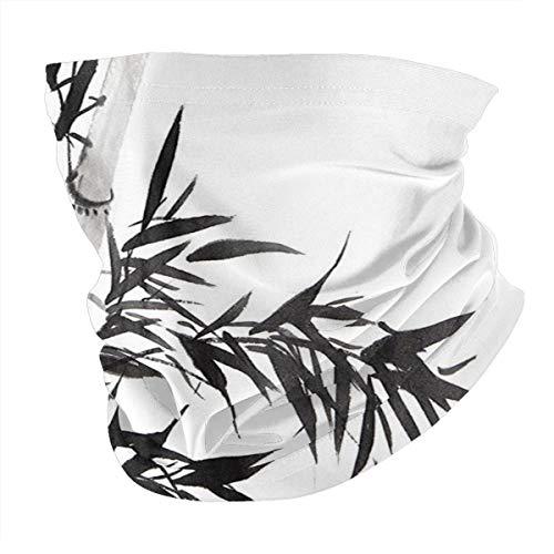 Q&SZ Sweatshirt Outdoor Headband Bamboo Decor Bamboo Tree Illustration Traditional Chinese Calligraphy Style Asian Culture Home Decor Charcoal Grey Scarf Neck Gaiter Face Bandana Scarf Head Scarf