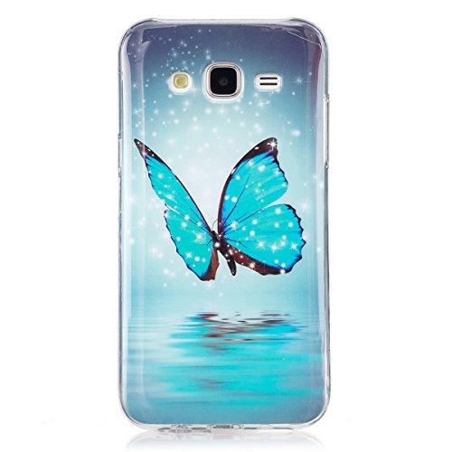 ISAKEN Compatibile con Samsung Galaxy J5 2015 Custodia, Agganciabile Luminosa Caso con Lampeggiante Ultra Sottile Morbido TPU Cover Rigida Gel Silicone Protettivo Custodia - Glitter Farfalle