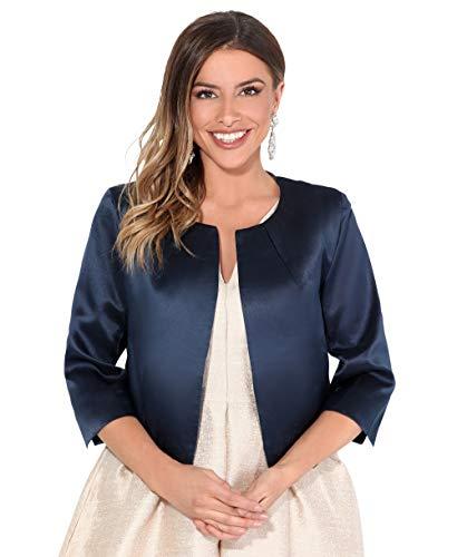 KRISP - Bolero da donna, chic, da matrimonio, cerimonia, giacca corta da sera elegante con maniche a tre quarti Bleu Marine (3901) 40