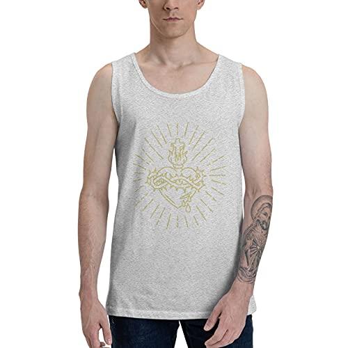 IJARL Camiseta sin mangas con diseño de corazón sagrado de Jesús para hombre, transpirable, cómoda, color negro - gris - X-Large