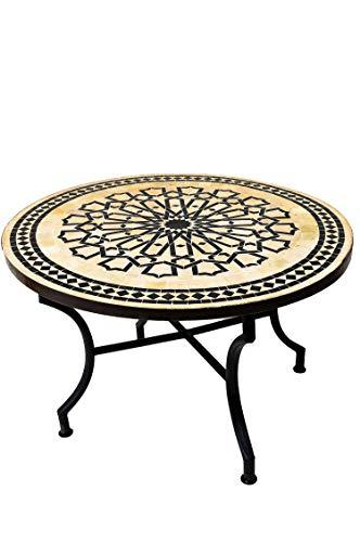ORIGINAL Marokkanischer Mosaiktisch Couchtisch ø 100cm Groß rund | Runder Kleiner Mosaik Gartentisch Mediterran | ALS Tisch Beistelltisch für Balkon oder Garten | Alcazar Beige Schwarz 100cm