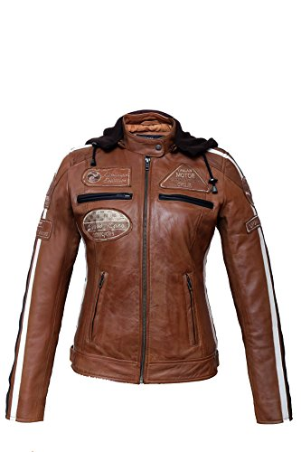 Urban Leather 58 Leren Bikerjack, Chaqueta de Moto para Mujer, Marrón (Tan),...