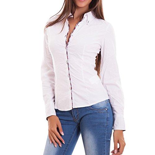 Toocool – Camisa de mujer de punto con borde escocés atornillada cuello...