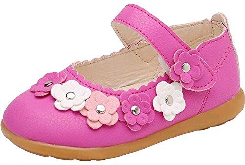 PPXID Fille Ballerine de Princess Chaussure de Marche -Rose Rouge 22