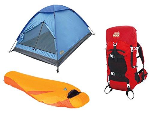 "Alpinizmo High Peak USA Latitude 0F Schlafsack + \'3\""Monodom Zelt & 40Liter Pack Combo, Rot/Orange, One Size"