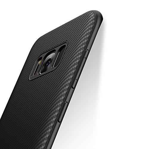 Cover Samsung Galaxy S8, J Jecent [Aspetto in Fibra di Carbonio] Custodia Protezione in Silicone TPU [Anticaduta, Antiscivolo, Antigraffio, Antiurto] Case per Galaxy S8 (5.8 pollici)- Nero