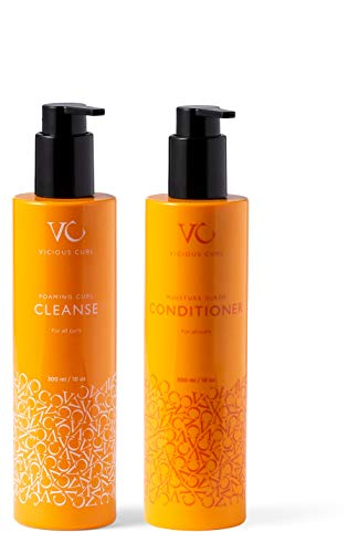 Vicious Curl Foaming Curl Cleanse and Moisture Surge Conditioner Kit – Clarifying Shampoo and Deep Conditioner for Curly Hair – Color-Safe, GMO-Free, with Amino Acids, Proteins & Superfruits (10 oz)