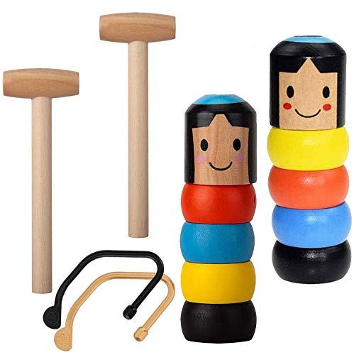 BESTZY 2PCS Mágico de Hombre de Madera irrompible Wooden Man Daruma Stage Magic Props Magic Tricks Estilo Inmortal Marioneta para Niños y Adultos