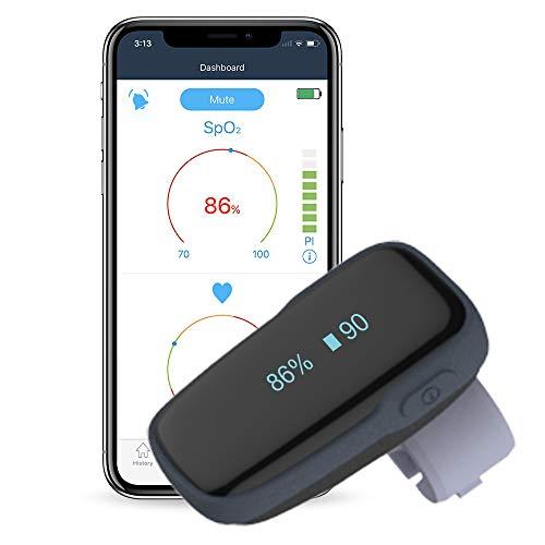 ViATOM Oxímetro, Monitor de Nivel de Oxígeno Portátil por Bluetooth, Medición del Nivel Sp-02 y de la Frecuencia Cardíaca, App vía Bluetooth, Dispositivo Wearable SP-O2