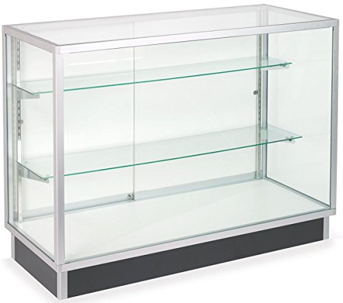 Free-Standing Glass Display Cabinet, Tempered Glass and Clear Coat Aluminum Frame, for Retail Use