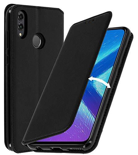 AURSTORE Huawei Honor 8X Hülle Handyhülle Huawei Honor 8X Tasche Leder Flip Case Brieftasche Etui Schutzhülle für Huawei Honor 8X Cover (Honor 8X, SCHWARZ)