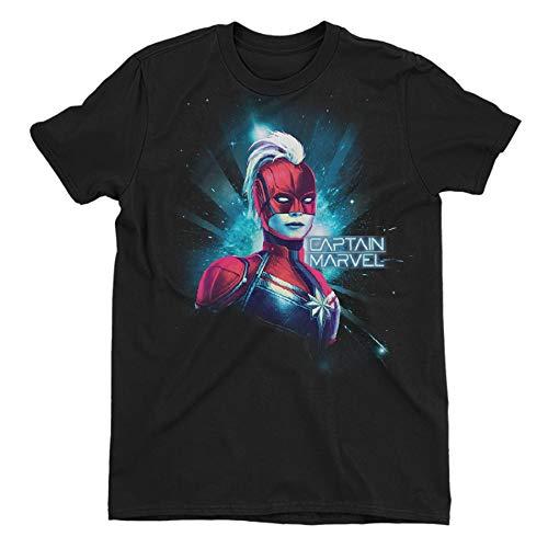 Captain Marvel Neon Children's Unisex Black T-Shirt 13-14 Years