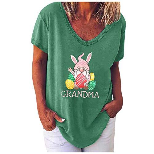 Liably Blusa informal para mujer, con cuello en V, manga corta, diseño de huevos de Pascua, para primavera y verano verde XL