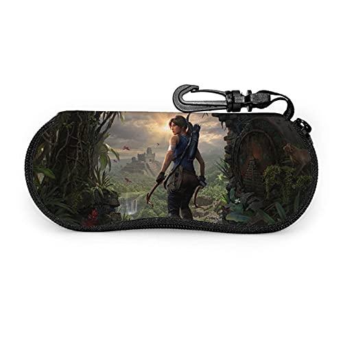 Shadow of the Tomb Raider - Funda para gafas de sol (ultra ligera, portátil, con cremallera, con gancho de metal para colgar, para gafas de seguridad, para hombre y mujer