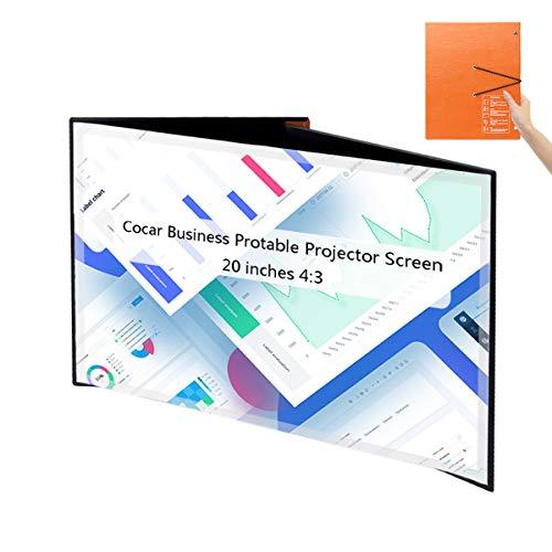 Portátil Proyector Pantalla, Cocar 20 Pulgadas 4: 3 Mesa PVC Plegable Proyección Pantalla para DLP Proyector Inicio Sesión Comercial/Reunión Interior al Aire Libre/Teatro de enseñanza