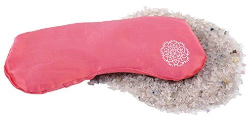 Inner Jewels Zacht oogkussen, fijne zijde met halfedelstenen linnenzaad-vulling voor yoga, ontspanning en meditatie Zacht roze.