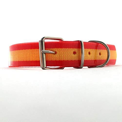 HappyZoo Mascotas Collar para Perro Bandera España de Biothane Auténtico - Tamaño 60 cm - Collares Perros Banderas Española