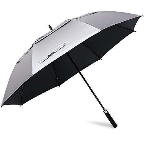 G4Free 68 Inch UV Protection Golf Umbrella Auto Open Vented Double Canopy Oversize Extra Large Windproof Sun Rain Umbrellas (Silver/Black)