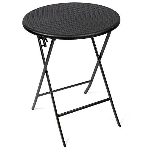 Vanage bijzettafel - tuintafel in rotanlook - kunststof tafel voor tuin, terras en balkon geschikt - bistrotafel met stalen frame Tafel rond rotan Rattan zwart