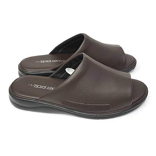 [パンジー] エクセル メンズ サンダル 9020 スリッパ 院内履き オフィス 紳士用 4E 抗菌 MEN'S EXCEL ブラウン LLサイズ(27.0cm〜27.5cm)