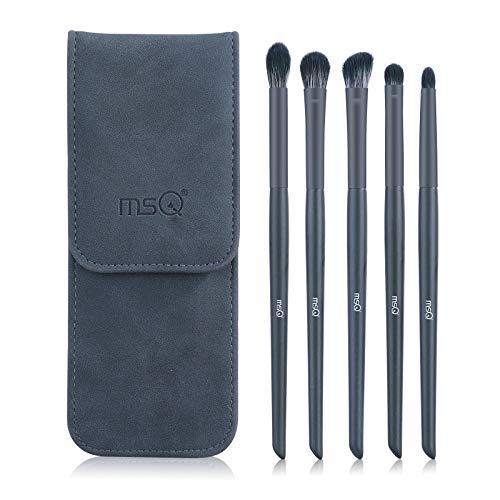 MSQ 5 Stück Make-Up Pinsel Set mit Tasche Kosmetik zum Auftragen von Augen Makeup Premium Schminkpinsel Set Perfekte für Augen-Make-up zum Verblenden und Schattieren von Lidschatten