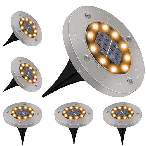 Luces Solares Exterior GolWof 6 Pack 10 LEDs Luces Solar de Tierra IP65 Impermeable Acero Inoxidable Luce de Tierra Lamparas Solares Jardin para Jardín Césped Patio Escalera Pasarela - Blanco Cálido