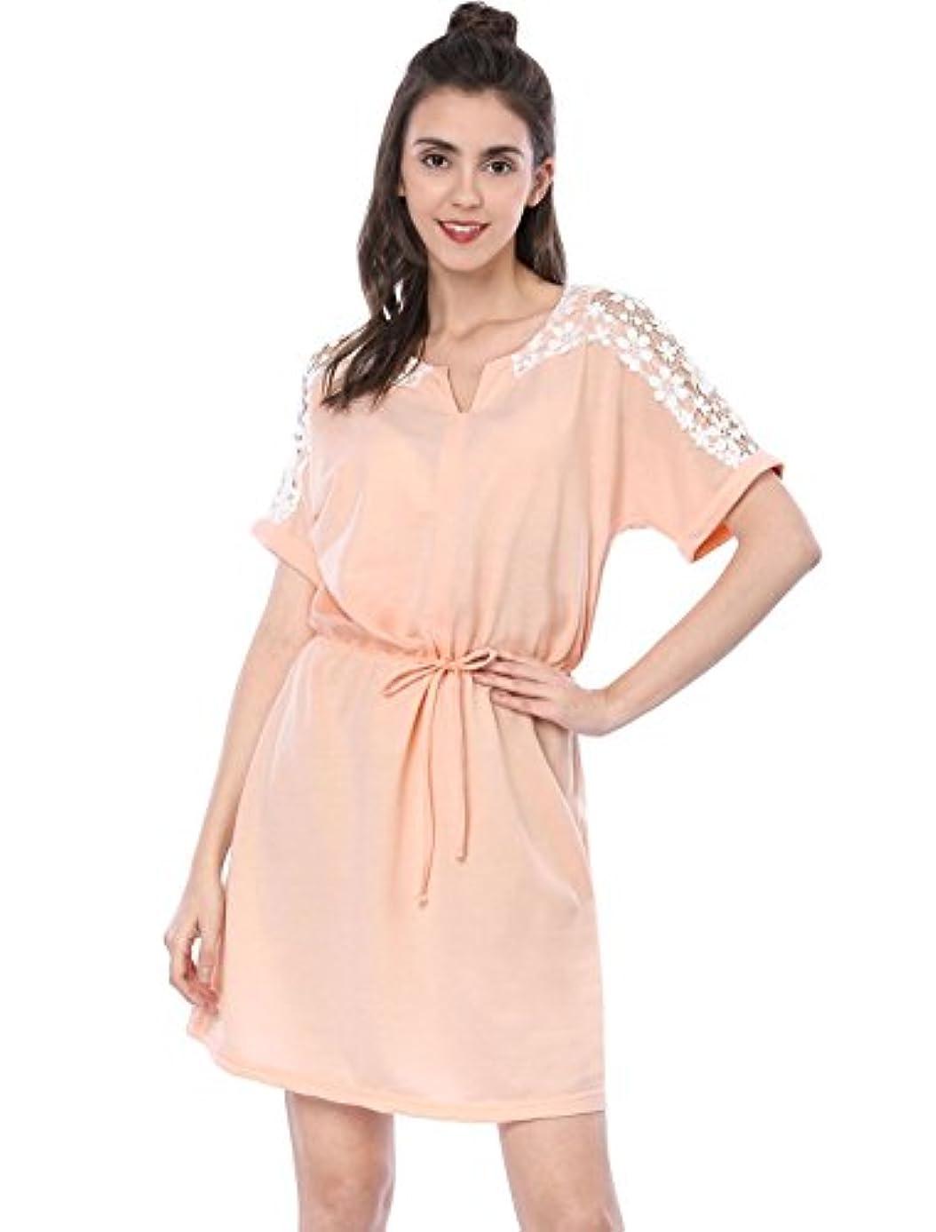 Allegra K Women's Short Sleeve Casual Tunic Elastic Waist Above Knee Tie Waist T-Shirt Dress