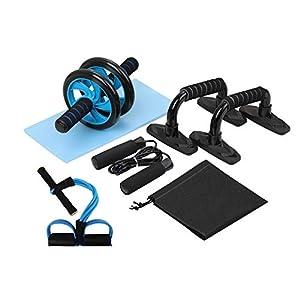 immagine di Lixada 4-in-1/5-in-1 AB Kit Rullo Ruota pressa Addominale PRO Wheel con Barra Push-up Corda per Esercizio Domestico Forza Muscolare Forma Fisica (5-in-1)