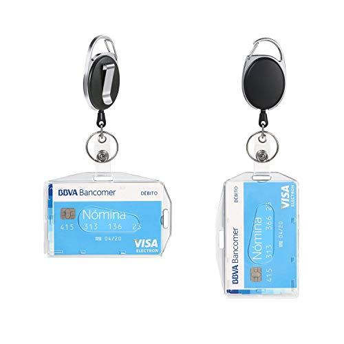 Vicloon Märkeshållare med infällbar rulle, 2 st dubbelsidig horisontell vertikal ID-korthållare för skola, kontor, identitetskort, nyckelring och bältesklämma fäste