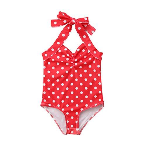 Ropa Bebe Verano Bikini de Una Pieza Bañador para Niña Recién Nacido Bebé con Lazos Estampado de Lunares con Punto de Onda Traje de Baño Bikini de Nadar para Chicas (Red, 6-12m)
