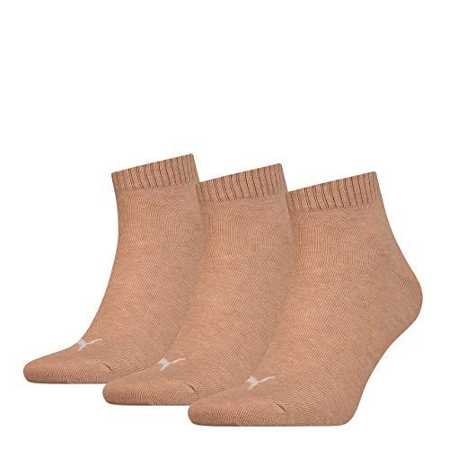 3 Paar Puma Unisex Quarter Socken Sneaker Gr. 35 - 49 für Damen Herren Füßlinge, Socken und Strümpfe:39-42, Farbe:050 - beige mélange